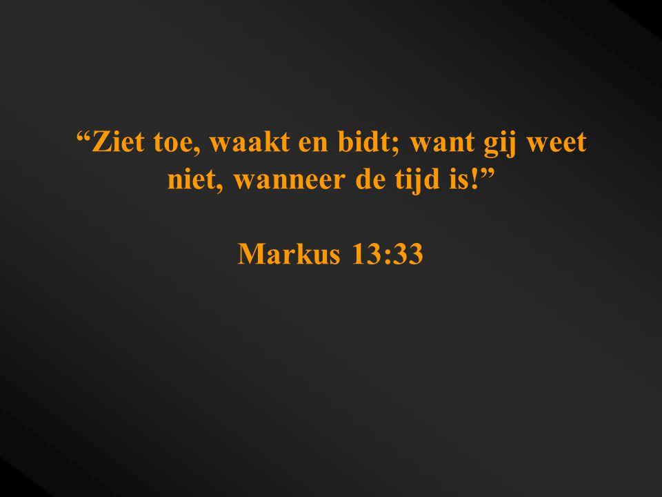 """""""Ziet toe, waakt en bidt; want gij weet niet, wanneer de tijd is!"""" Markus 13:33"""