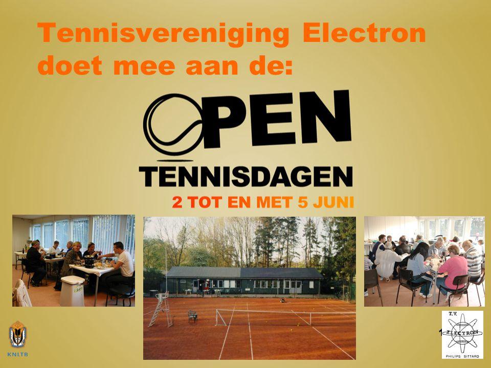 12 De gegevens op een rij: Tennisvereniging Electron Locatie banen en paviljoen: Molenweg 63a, 6133 XM Sittard Secretariaat: Pascal Gerits, Beekstraat 16, 6136 EK Sittard Contactgegevens: Secretariaat: telefoon: 06-17786350 email:secretaris@tvelectron.nlsecretaris@tvelectron.nl Website: www.tvelectron.nlwww.tvelectron.nl KvK no.