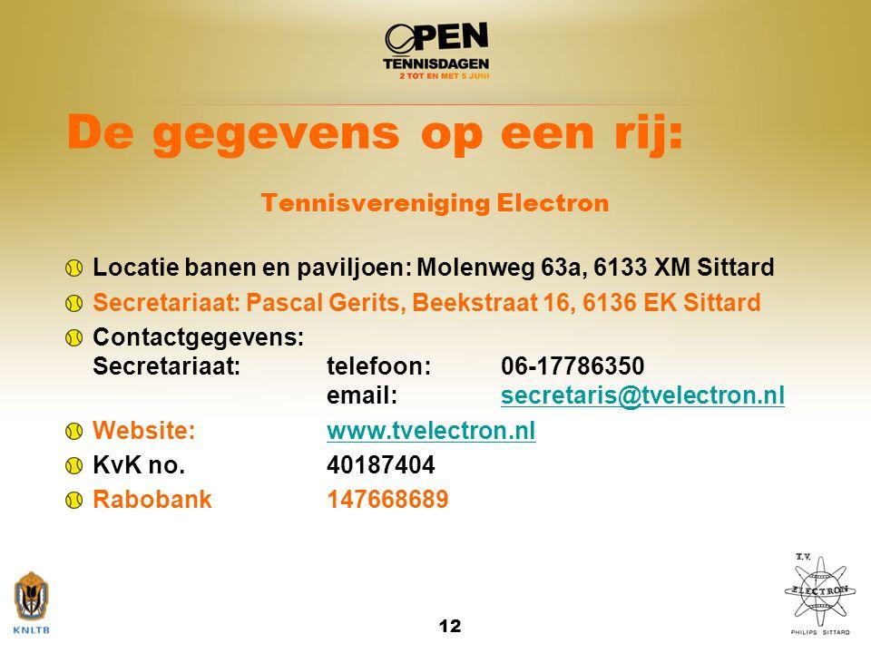 12 De gegevens op een rij: Tennisvereniging Electron Locatie banen en paviljoen: Molenweg 63a, 6133 XM Sittard Secretariaat: Pascal Gerits, Beekstraat