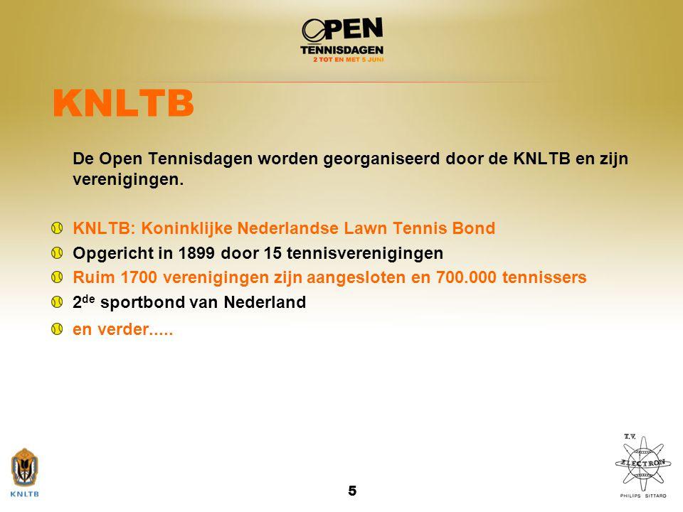 5 KNLTB De Open Tennisdagen worden georganiseerd door de KNLTB en zijn verenigingen. KNLTB: Koninklijke Nederlandse Lawn Tennis Bond Opgericht in 1899