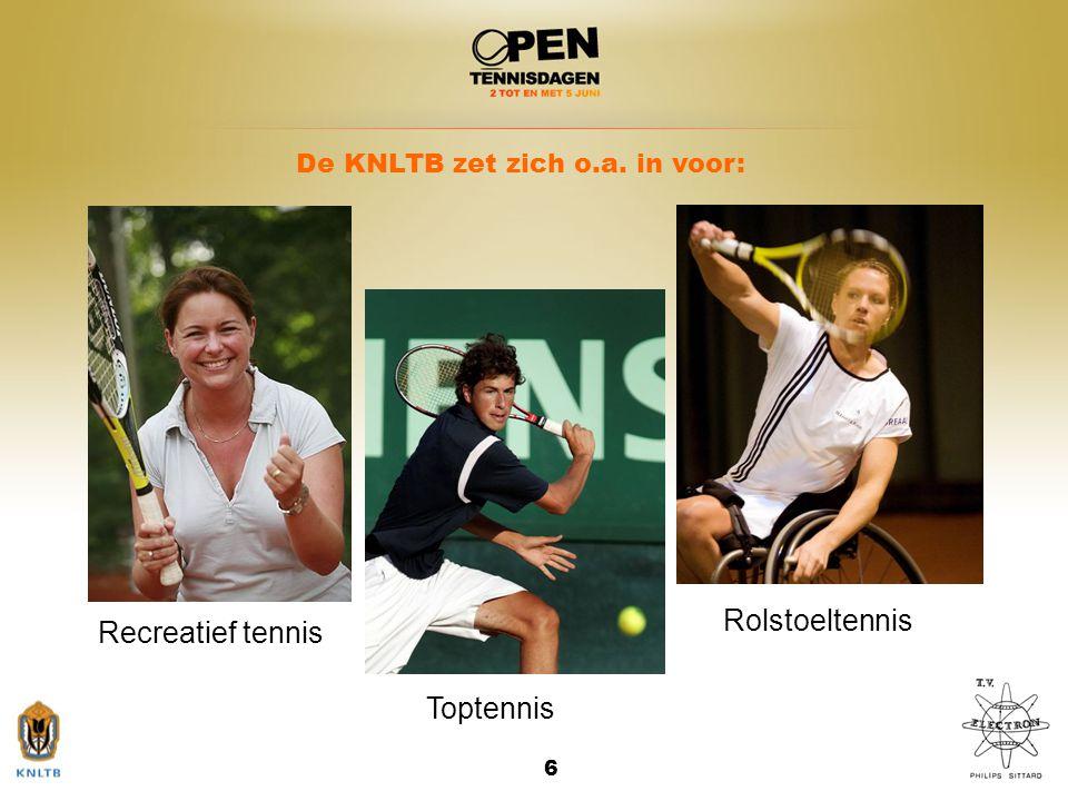 6 Recreatief tennis Toptennis Rolstoeltennis De KNLTB zet zich o.a. in voor: