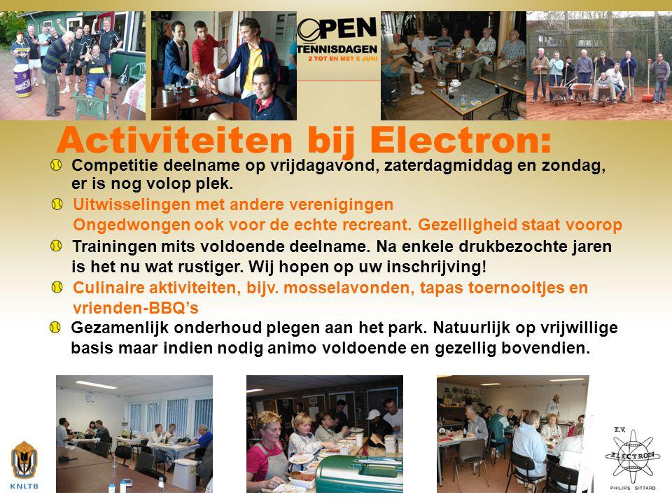 9 Activiteiten bij Electron: Competitie deelname op vrijdagavond, zaterdagmiddag en zondag, er is nog volop plek. Uitwisselingen met andere vereniging