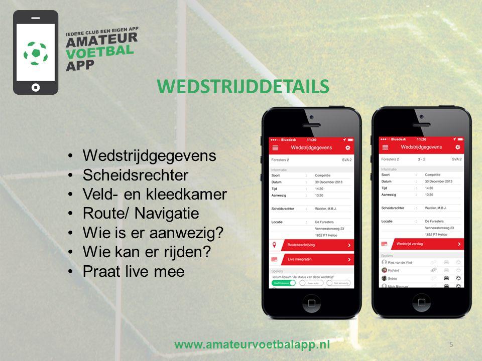 www.amateurvoetbalapp.nl 5 •Wedstrijdgegevens •Scheidsrechter •Veld- en kleedkamer •Route/ Navigatie •Wie is er aanwezig.