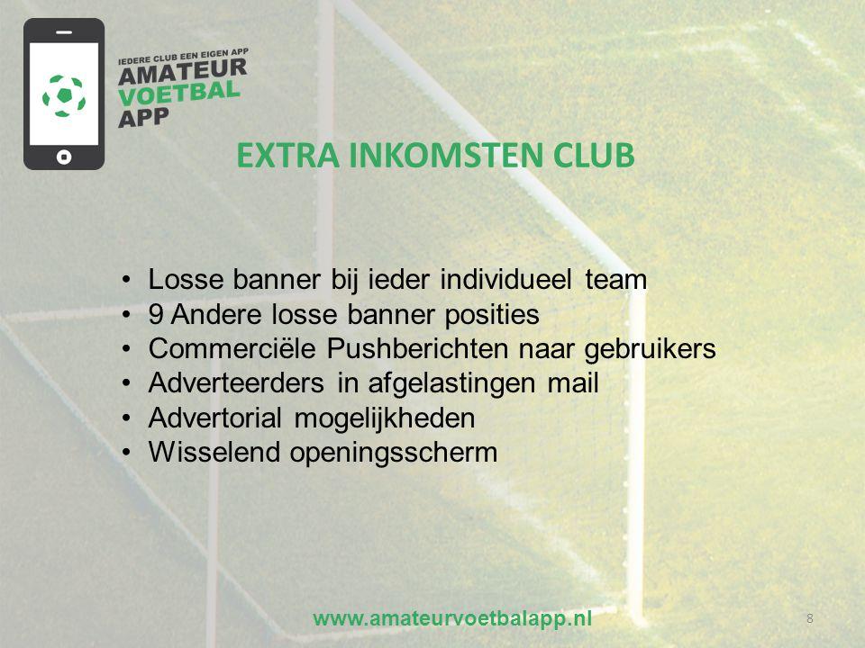 www.amateurvoetbalapp.nl 8 EXTRA INKOMSTEN CLUB •Losse banner bij ieder individueel team •9 Andere losse banner posities •Commerciële Pushberichten naar gebruikers •Adverteerders in afgelastingen mail •Advertorial mogelijkheden •Wisselend openingsscherm