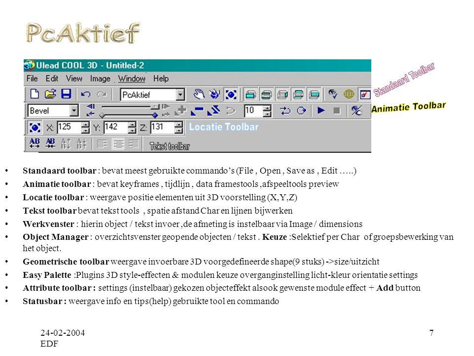 24-02-2004 EDF 8 •Move : Verplaatsen object/tekst, Rotate :draaibeweging geven object/tekst, Size : grootte object / tekst •Ping : weergave animatie Voor / Achterwaarts, Loop :herhalen animatie voor->einde Play : Preview start animatie Smooth: animatie overgangsframe smooth maken, effenen / egaliseren •Tijdlijn: geeft volledige controle over de beweging animatie, met de schuifknop naar bepaald frame navigeren Keyframe : Iedere keyframe (diamantvakje op tijdlijn) is inwerkbaar op je animatie(ratatie,kleur,grootte enz..) •Add / Remove keyframe : een key opdracht tussen huidige key en volgende bijvoegen of verwijderen •Reverse key : laatst gedefineerde animatie herroepen(intrekken) of omgekeerde bewerkingsuitvoering.