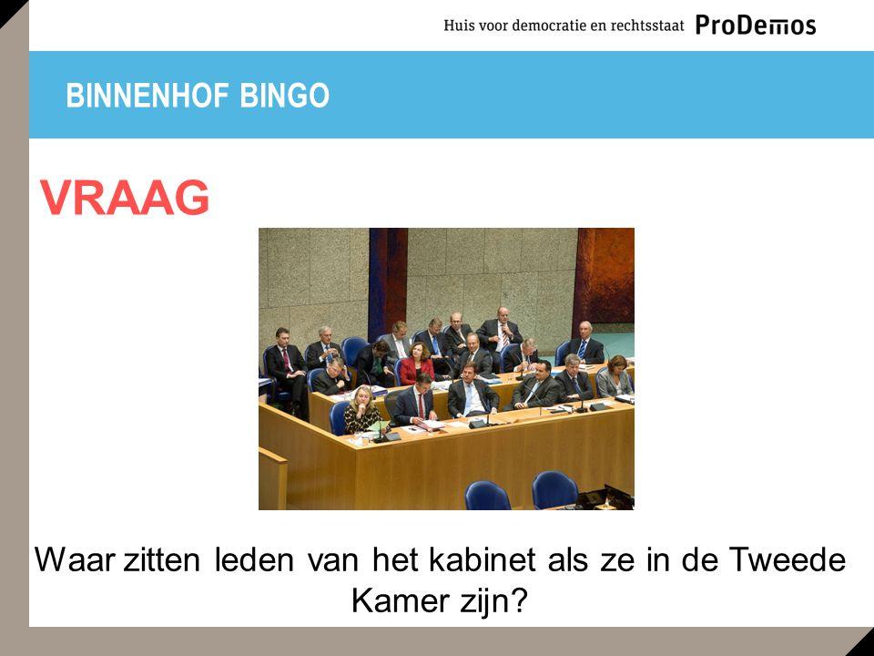 BINNENHOF BINGO Waar zitten leden van het kabinet als ze in de Tweede Kamer zijn? VRAAG