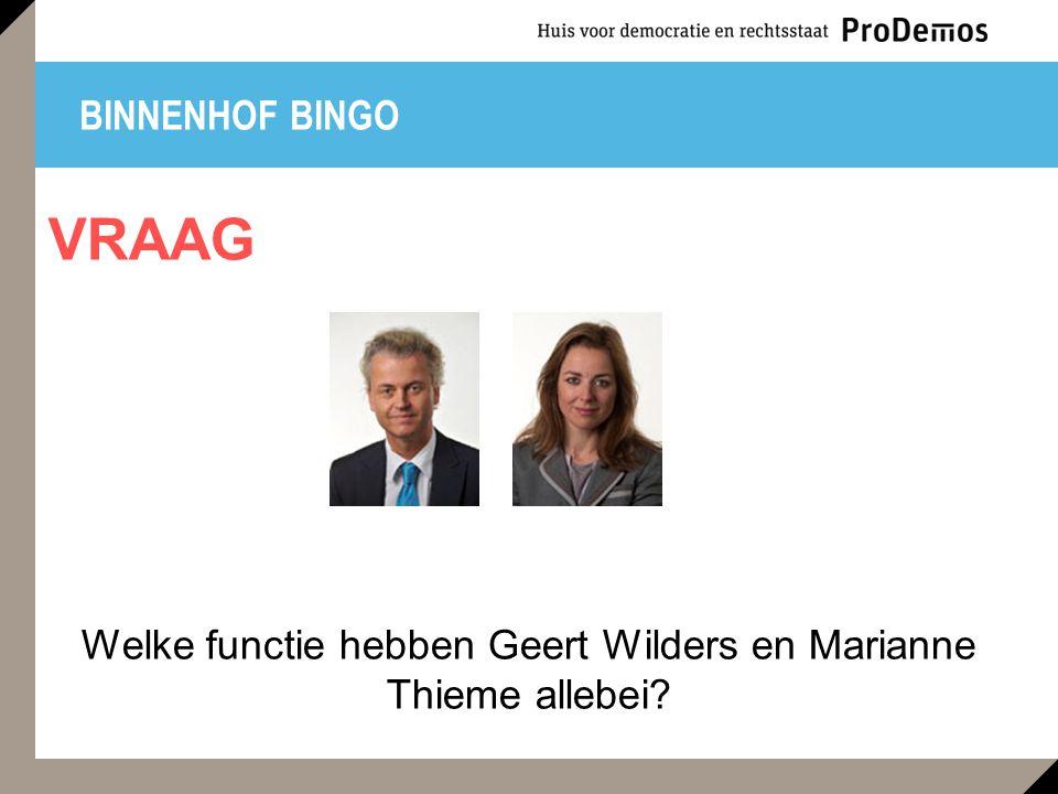 BINNENHOF BINGO Welke functie hebben Geert Wilders en Marianne Thieme allebei? VRAAG