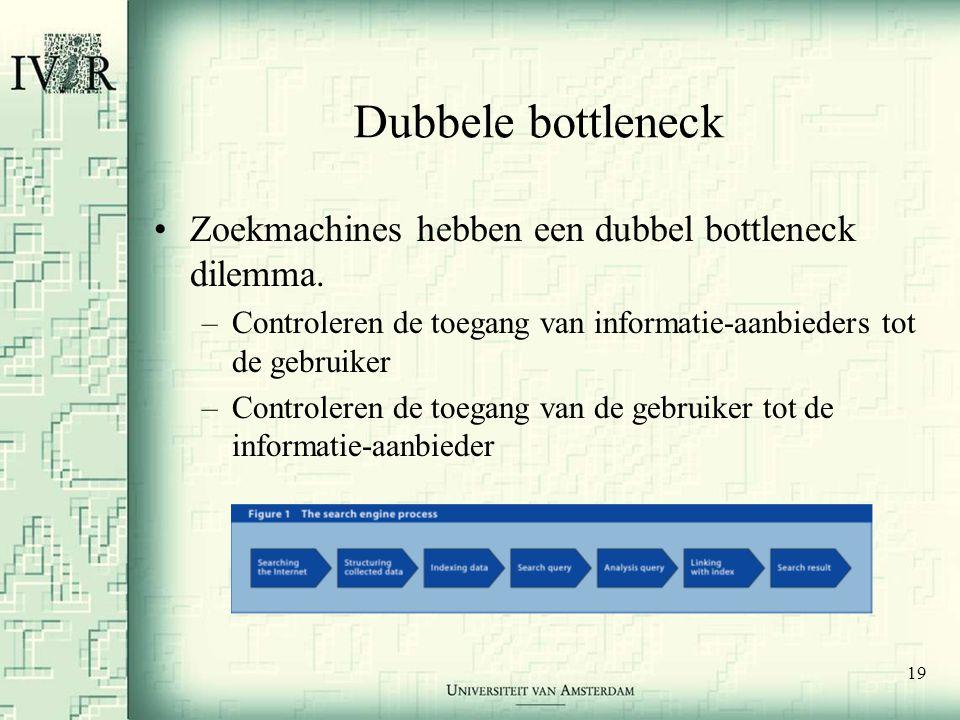 19 Dubbele bottleneck •Zoekmachines hebben een dubbel bottleneck dilemma. –Controleren de toegang van informatie-aanbieders tot de gebruiker –Controle
