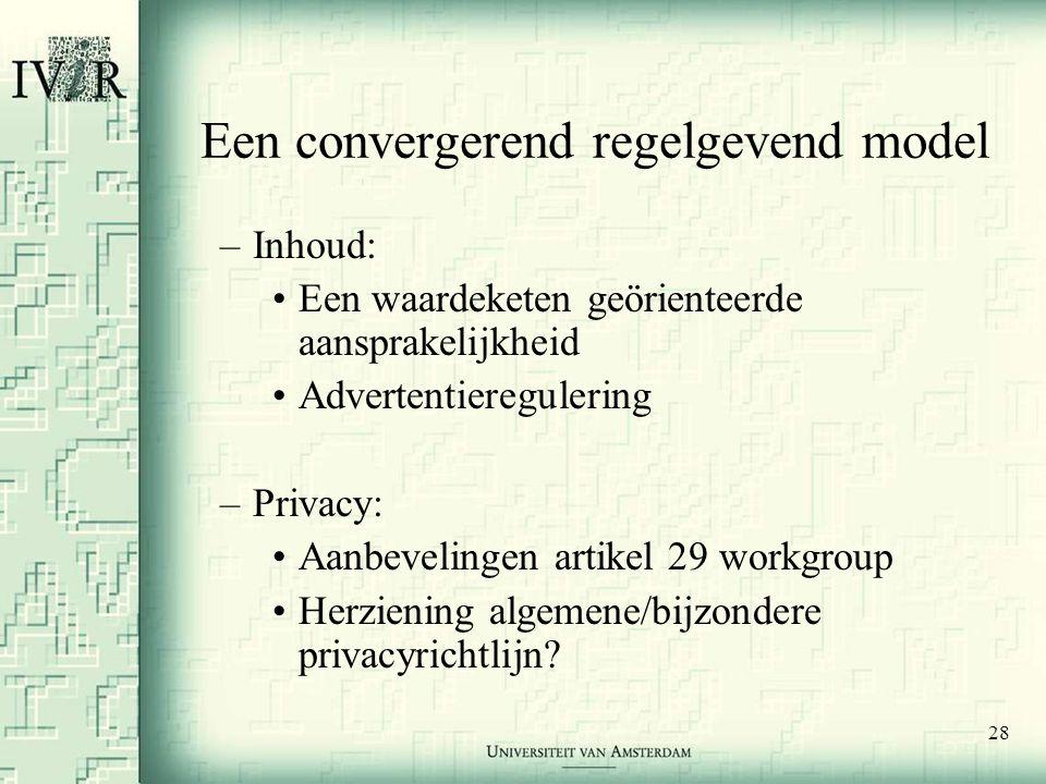 28 Een convergerend regelgevend model –Inhoud: •Een waardeketen geörienteerde aansprakelijkheid •Advertentieregulering –Privacy: •Aanbevelingen artikel 29 workgroup •Herziening algemene/bijzondere privacyrichtlijn