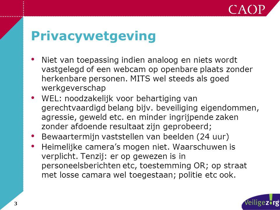 3 Privacywetgeving • Niet van toepassing indien analoog en niets wordt vastgelegd of een webcam op openbare plaats zonder herkenbare personen. MITS we