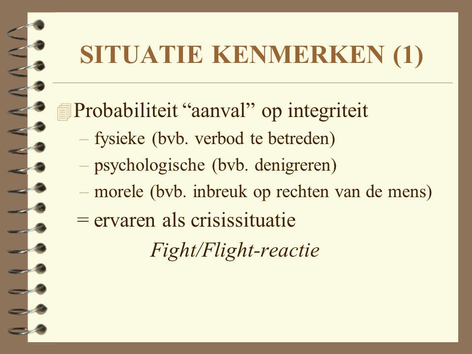 """SITUATIE KENMERKEN (1) 4 Probabiliteit """"aanval"""" op integriteit –fysieke (bvb. verbod te betreden) –psychologische (bvb. denigreren) –morele (bvb. inbr"""