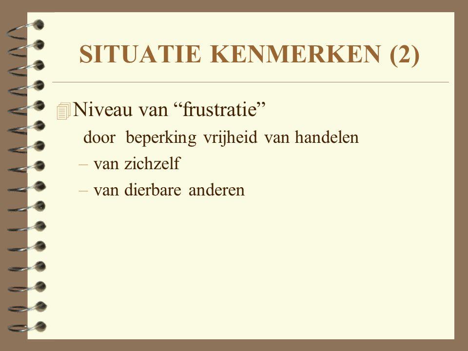 """SITUATIE KENMERKEN (2) 4 Niveau van """"frustratie"""" door beperking vrijheid van handelen –van zichzelf –van dierbare anderen"""