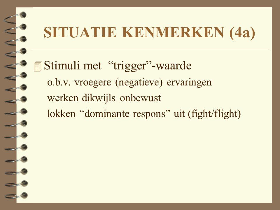 """SITUATIE KENMERKEN (4a) 4 Stimuli met """"trigger""""-waarde o.b.v. vroegere (negatieve) ervaringen werken dikwijls onbewust lokken """"dominante respons"""" uit"""