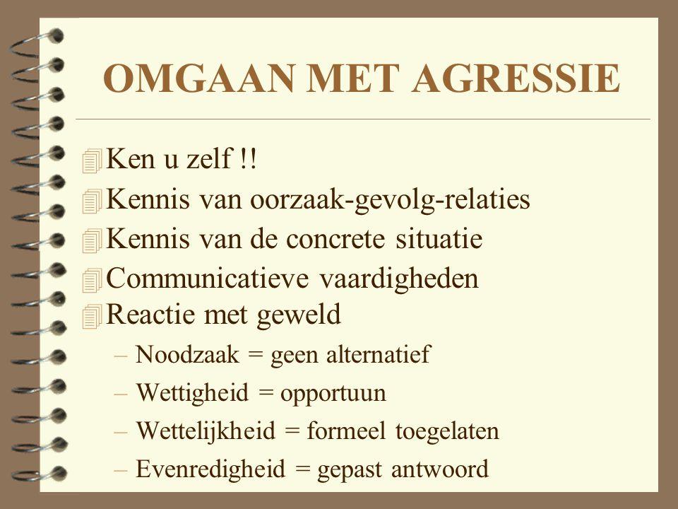 OMGAAN MET AGRESSIE 4 Ken u zelf !! 4 Kennis van oorzaak-gevolg-relaties 4 Kennis van de concrete situatie 4 Communicatieve vaardigheden 4 Reactie met