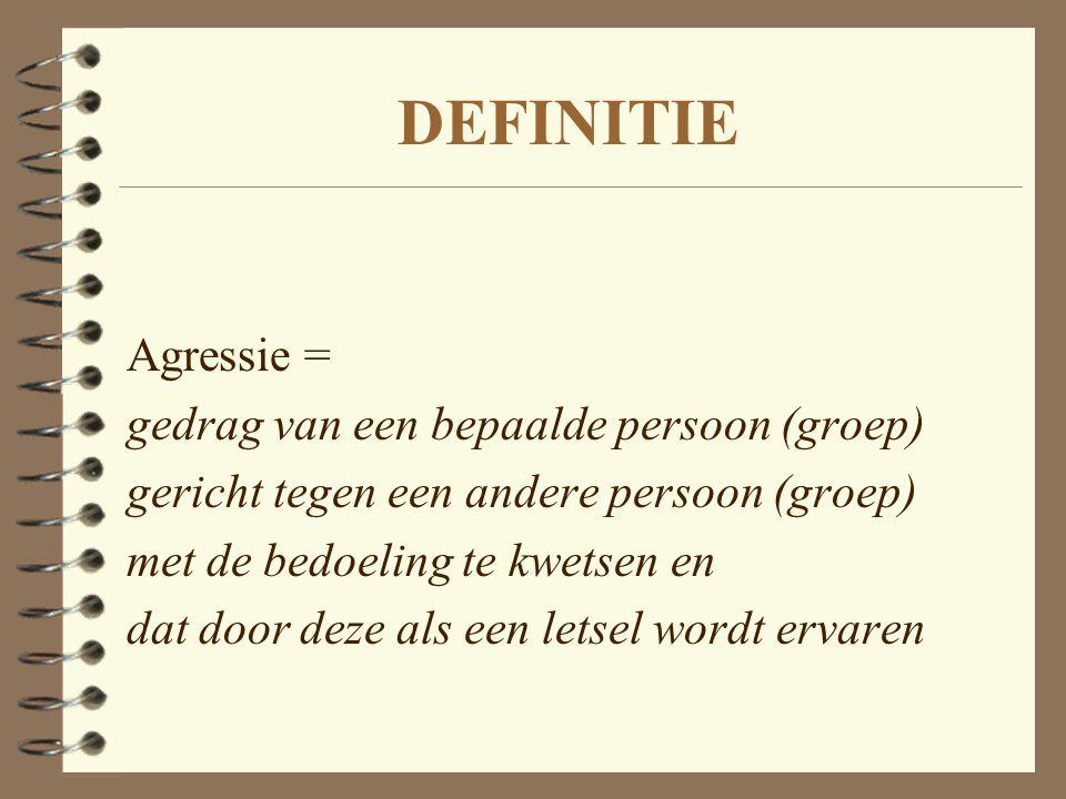 DEFINITIE Agressie = gedrag van een bepaalde persoon (groep) gericht tegen een andere persoon (groep) met de bedoeling te kwetsen en dat door deze als