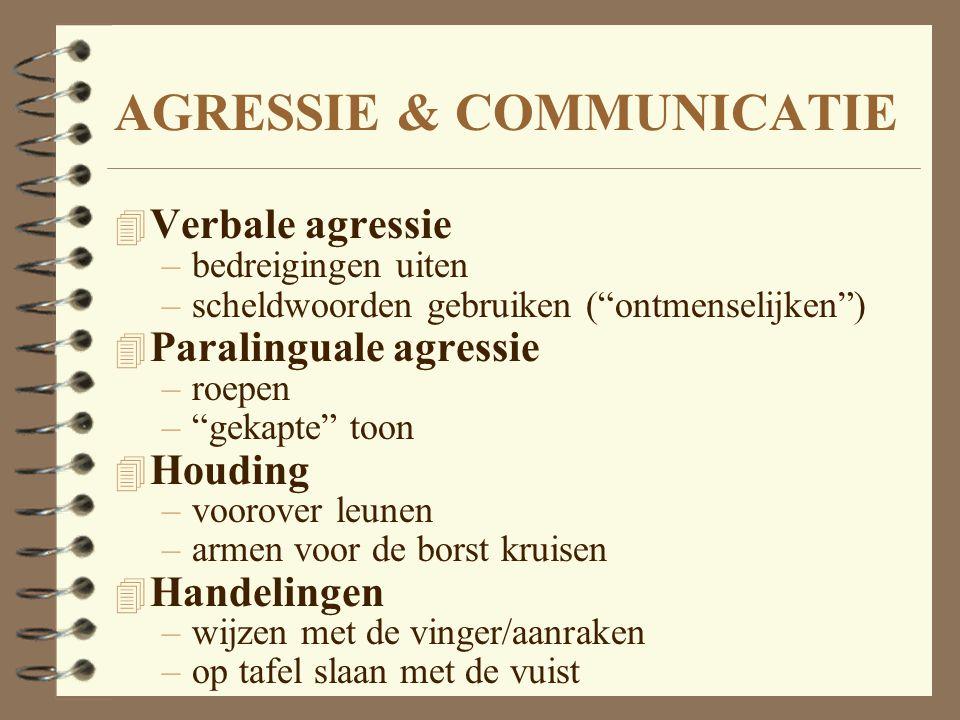 """AGRESSIE & COMMUNICATIE 4 Verbale agressie –bedreigingen uiten –scheldwoorden gebruiken (""""ontmenselijken"""") 4 Paralinguale agressie –roepen –""""gekapte"""""""