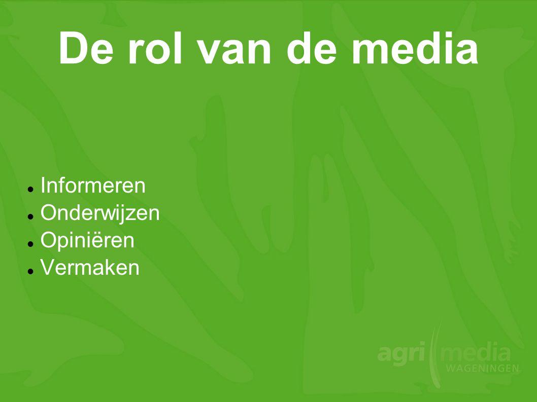 De rol van de media  Informeren  Onderwijzen  Opiniëren  Vermaken