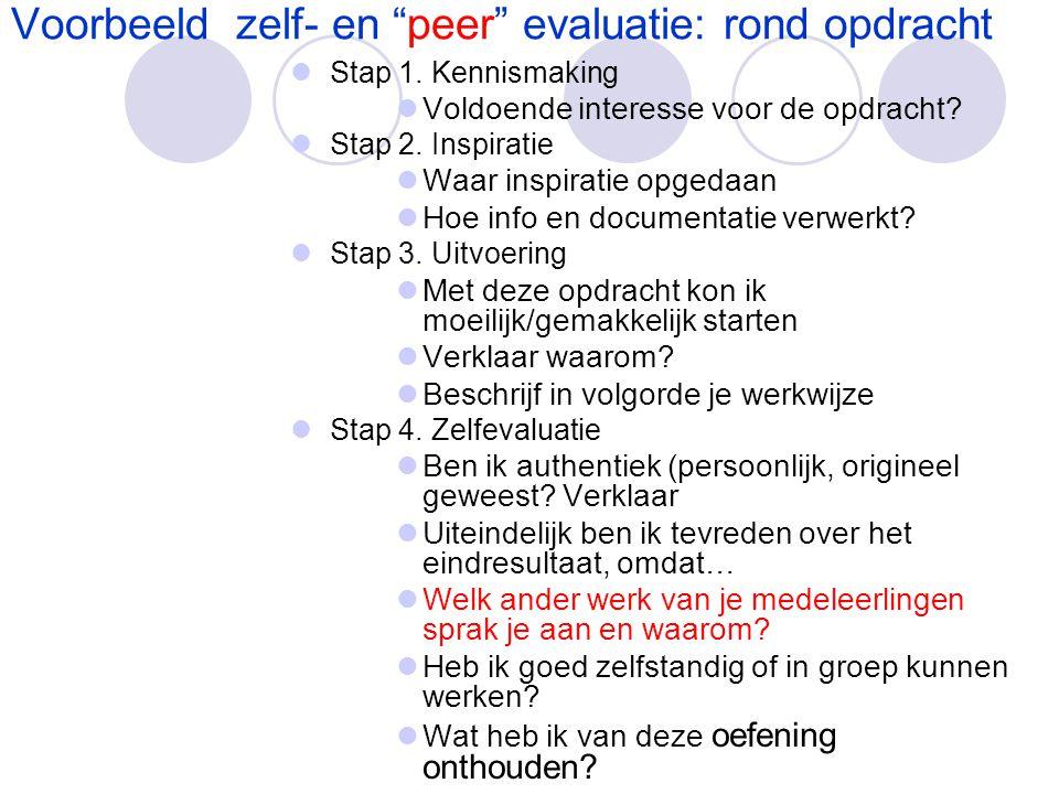 """Voorbeeld zelf- en """"peer"""" evaluatie: rond opdracht  Stap 1. Kennismaking  Voldoende interesse voor de opdracht?  Stap 2. Inspiratie  Waar inspirat"""