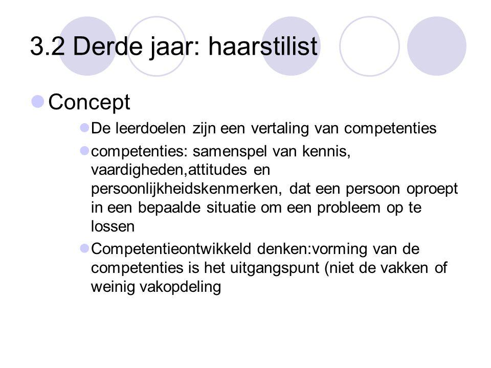 3.2 Derde jaar: haarstilist  Concept  De leerdoelen zijn een vertaling van competenties  competenties: samenspel van kennis, vaardigheden,attitudes