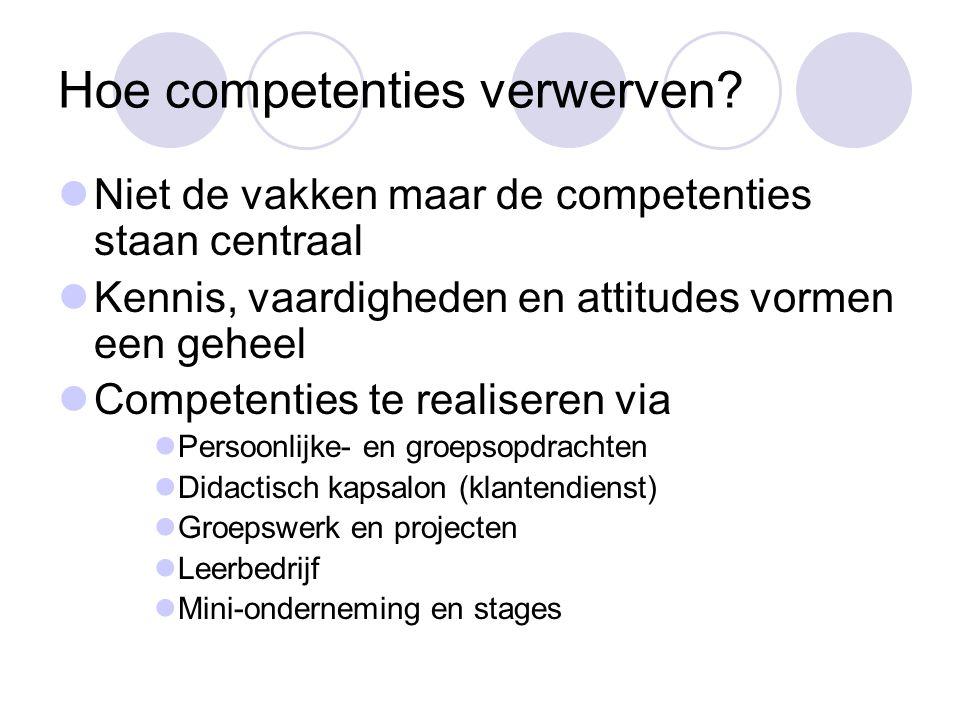 Hoe competenties verwerven?  Niet de vakken maar de competenties staan centraal  Kennis, vaardigheden en attitudes vormen een geheel  Competenties