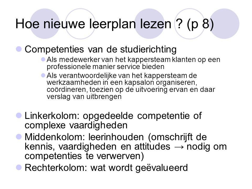 Hoe nieuwe leerplan lezen ? (p 8)  Competenties van de studierichting  Als medewerker van het kappersteam klanten op een professionele manier servic