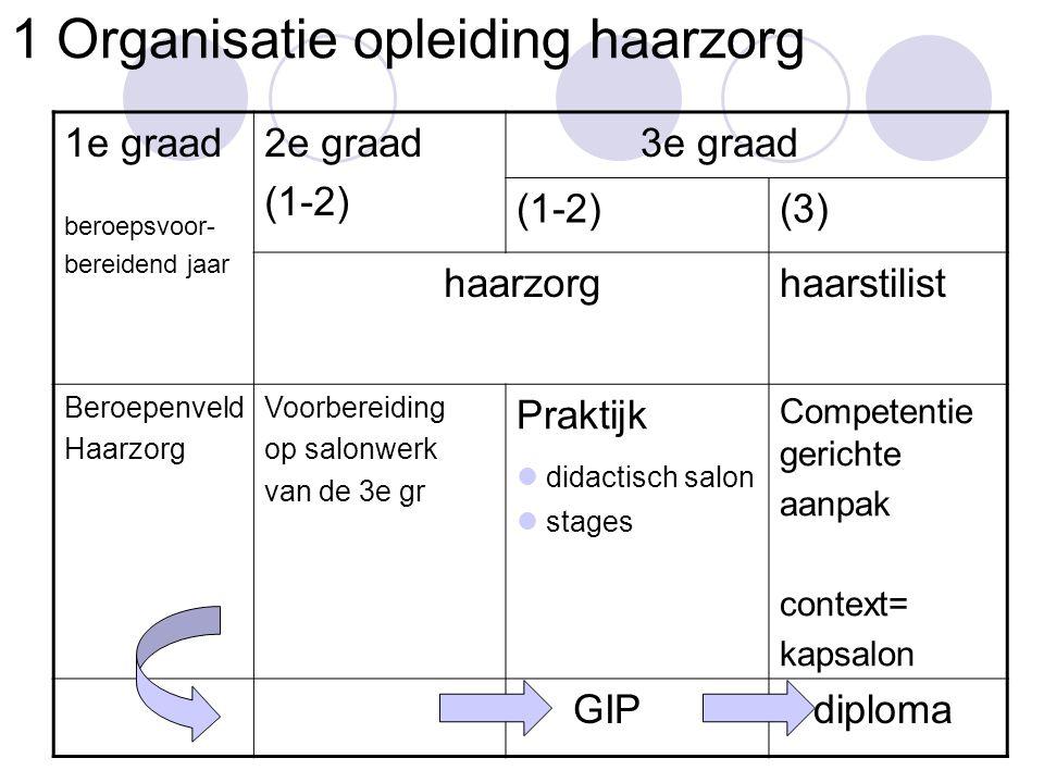 1 Organisatie opleiding haarzorg 1e graad beroepsvoor- bereidend jaar 2e graad (1-2) 3e graad (1-2)(3) haarzorghaarstilist Beroepenveld Haarzorg Voorb