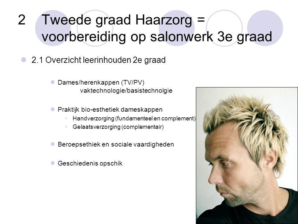 2Tweede graad Haarzorg = voorbereiding op salonwerk 3e graad  2.1 Overzicht leerinhouden 2e graad  Dames/herenkappen (TV/PV) vaktechnologie/basistec