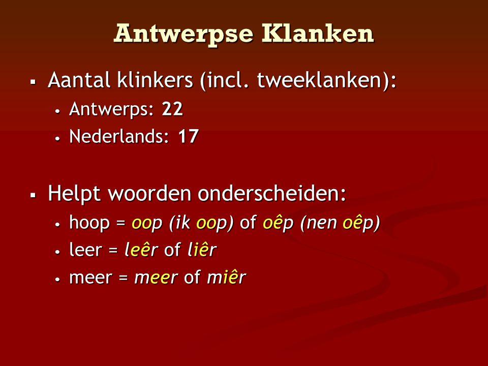 Antwerpse Klanken  Aantal klinkers (incl. tweeklanken): • Antwerps: 22 • Nederlands: 17  Helpt woorden onderscheiden: • hoop = oop (ik oop) of oêp (