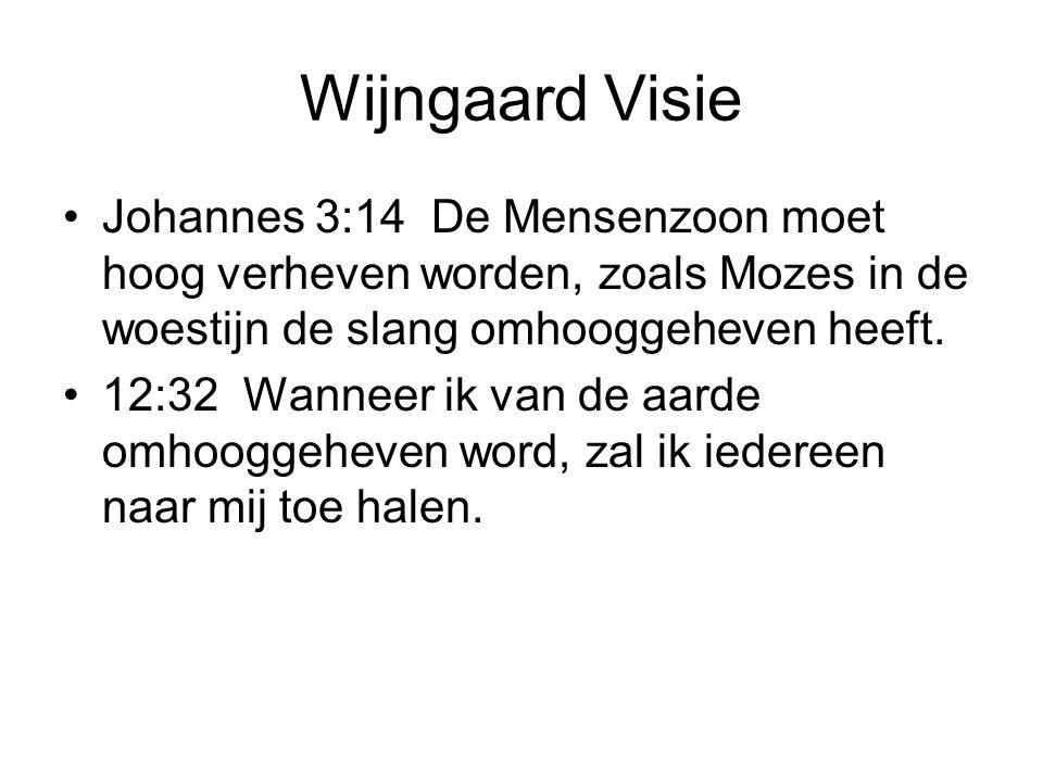 Wijngaard Visie •Johannes 3:14 De Mensenzoon moet hoog verheven worden, zoals Mozes in de woestijn de slang omhooggeheven heeft.