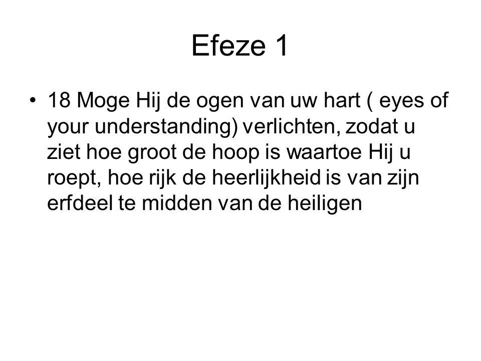 Efeze 1 •18 Moge Hij de ogen van uw hart ( eyes of your understanding) verlichten, zodat u ziet hoe groot de hoop is waartoe Hij u roept, hoe rijk de heerlijkheid is van zijn erfdeel te midden van de heiligen