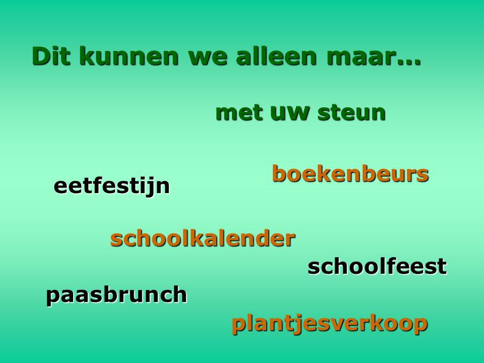 Dit kunnen we alleen maar... met uw steun eetfestijn schoolkalender paasbrunch plantjesverkoop boekenbeurs schoolfeest