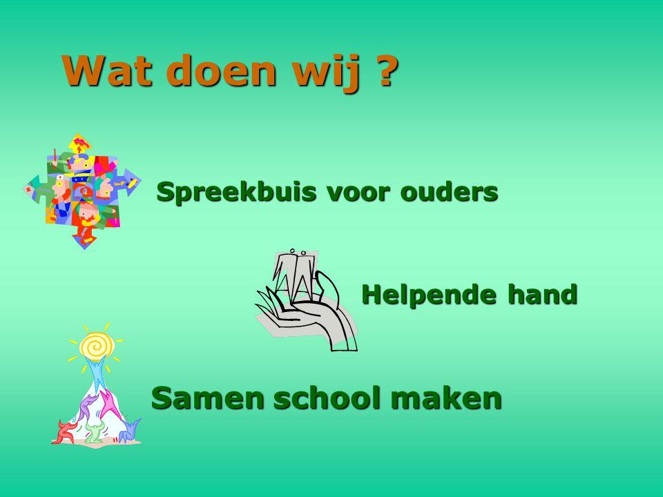 Wat doen wij ? Spreekbuis voor ouders Helpende hand Samen school maken