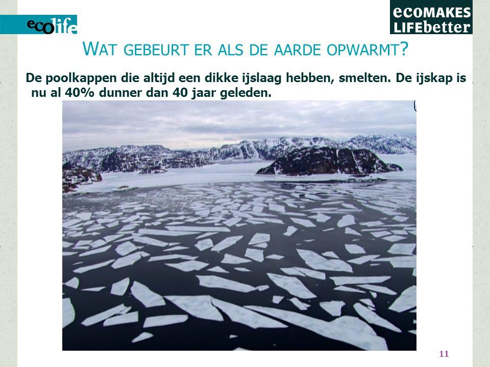 11 De poolkappen die altijd een dikke ijslaag hebben, smelten.