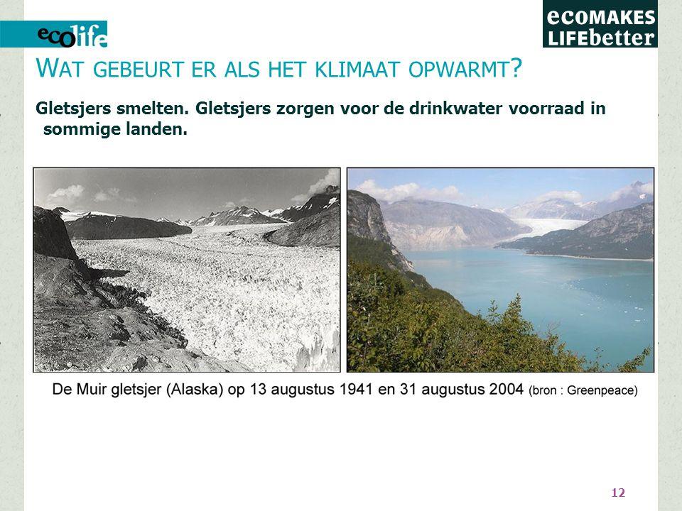 12 Gletsjers smelten.Gletsjers zorgen voor de drinkwater voorraad in sommige landen.