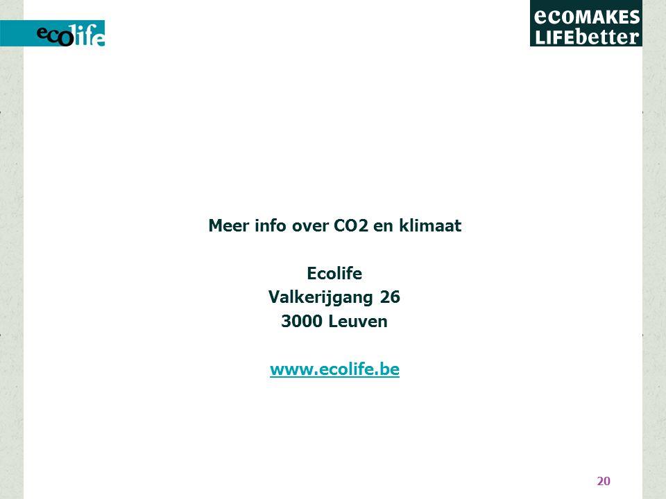 20 Meer info over CO2 en klimaat Ecolife Valkerijgang 26 3000 Leuven www.ecolife.be