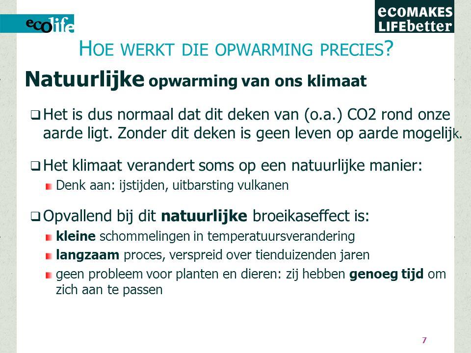 7 Natuurlijke opwarming van ons klimaat  Het is dus normaal dat dit deken van (o.a.) CO2 rond onze aarde ligt.