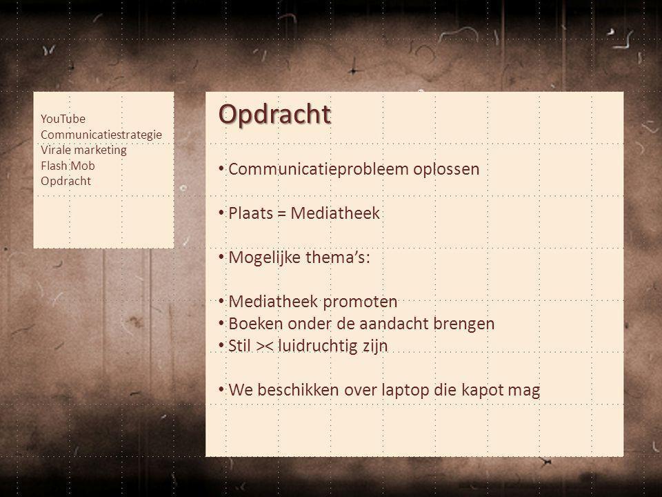 Opdracht • Communicatieprobleem oplossen • Plaats = Mediatheek • Mogelijke thema's: • Mediatheek promoten • Boeken onder de aandacht brengen • Stil ><