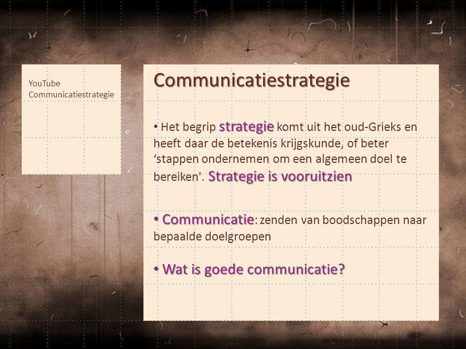 Communicatiestrategie strategie Strategie is vooruitzien • Het begrip strategie komt uit het oud-Grieks en heeft daar de betekenis krijgskunde, of bet