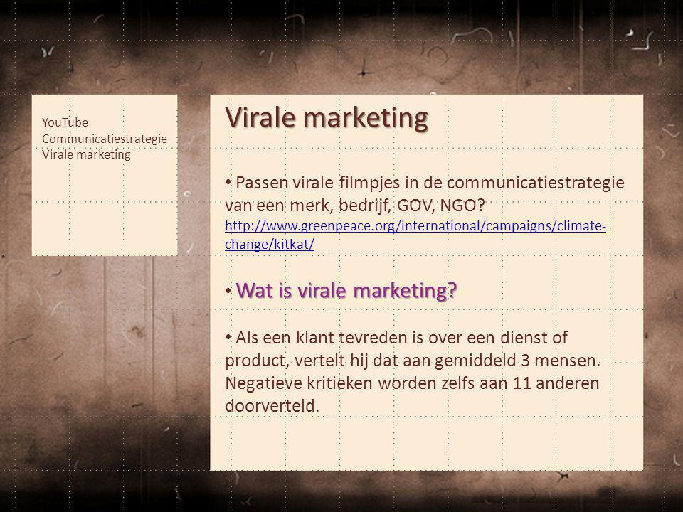 Virale marketing • Passen virale filmpjes in de communicatiestrategie van een merk, bedrijf, GOV, NGO.