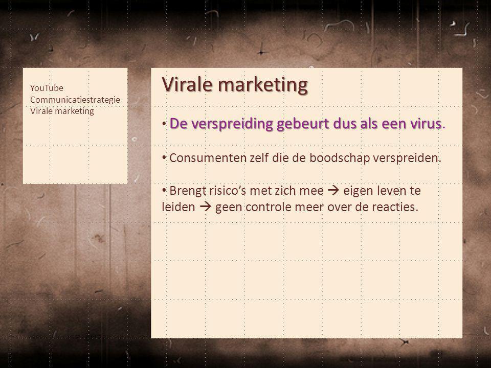 Virale marketing De verspreiding gebeurt dus als een virus • De verspreiding gebeurt dus als een virus. • Consumenten zelf die de boodschap verspreide