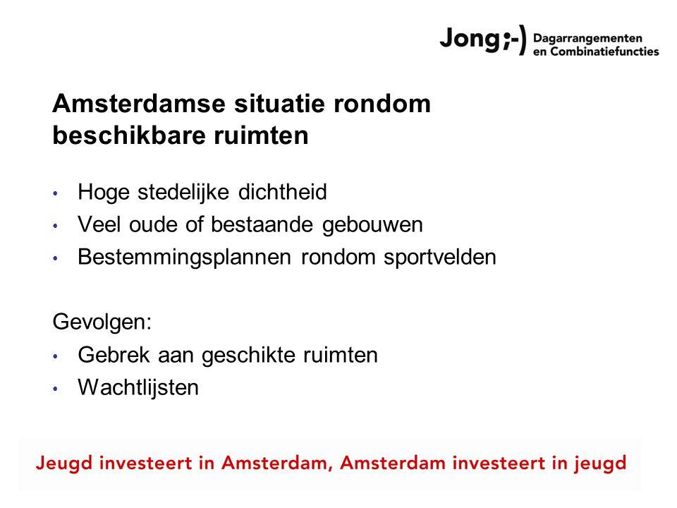 Amsterdamse situatie rondom beschikbare ruimten • Hoge stedelijke dichtheid • Veel oude of bestaande gebouwen • Bestemmingsplannen rondom sportvelden Gevolgen: • Gebrek aan geschikte ruimten • Wachtlijsten