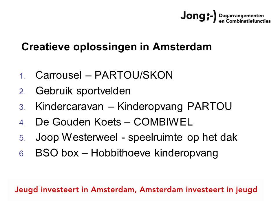 Creatieve oplossingen in Amsterdam 1. Carrousel – PARTOU/SKON 2. Gebruik sportvelden 3. Kindercaravan – Kinderopvang PARTOU 4. De Gouden Koets – COMBI