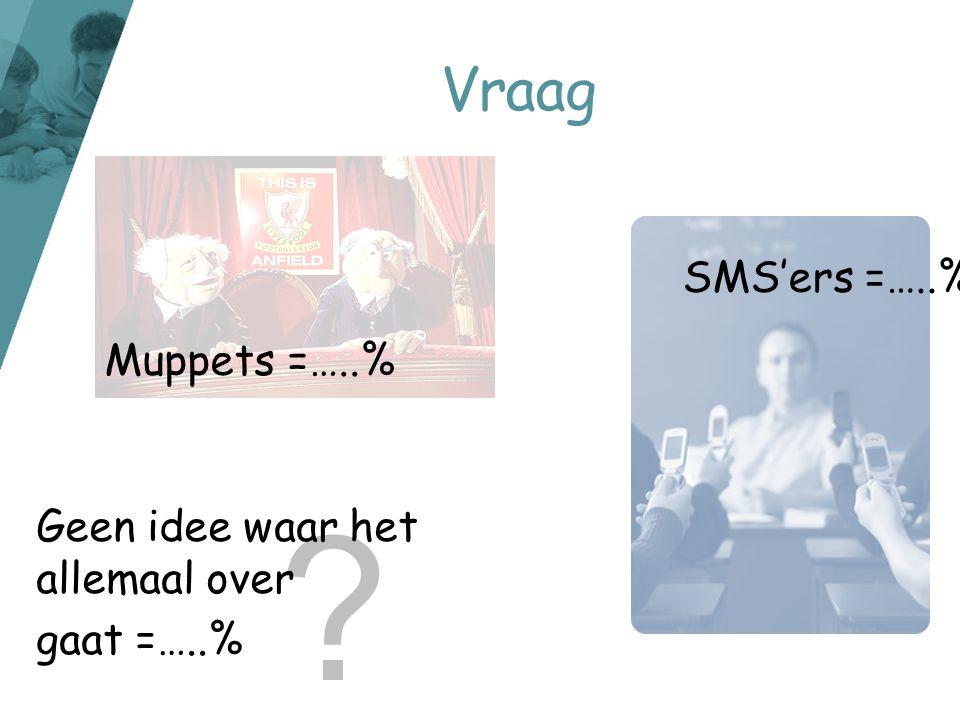 ? Vraag Muppets =…..% SMS'ers =…..% Geen idee waar het allemaal over gaat =…..%