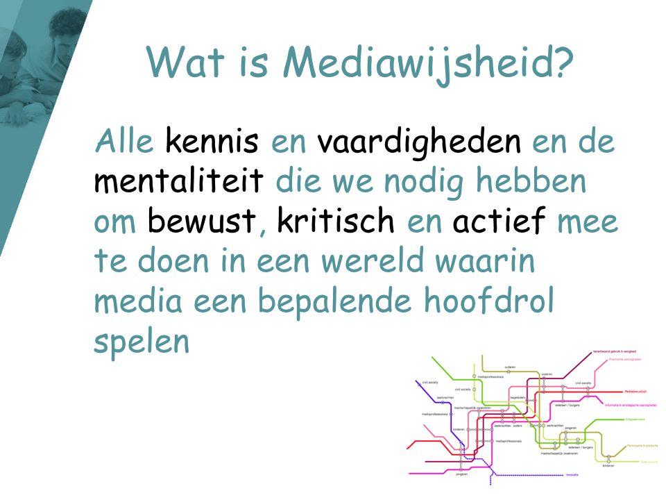 Wat is Mediawijsheid? Alle kennis en vaardigheden en de mentaliteit die we nodig hebben om bewust, kritisch en actief mee te doen in een wereld waarin
