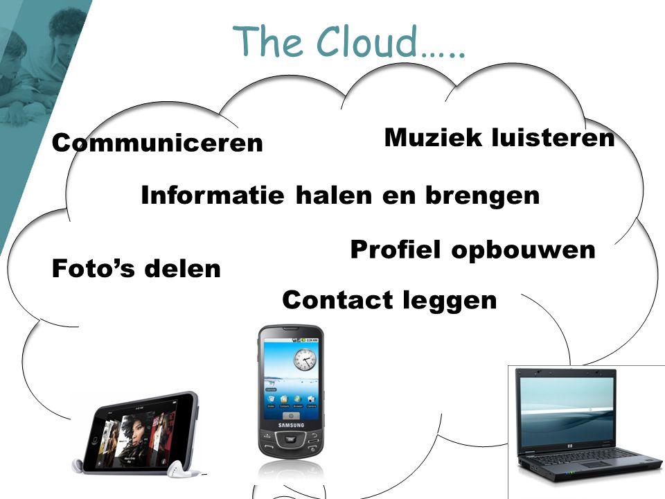 Informatie halen en brengen Foto's delen Muziek luisteren Communiceren Contact leggen Profiel opbouwen The Cloud…..