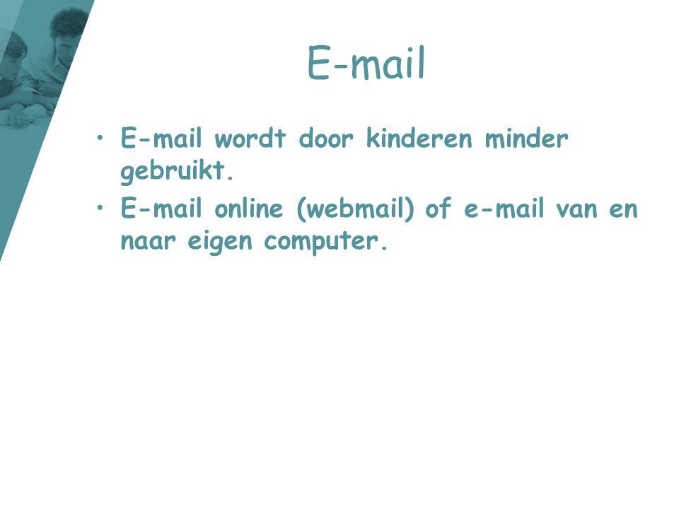 E-mail •E-mail wordt door kinderen minder gebruikt. •E-mail online (webmail) of e-mail van en naar eigen computer.