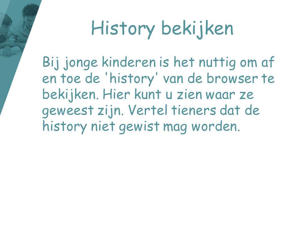 History bekijken Bij jonge kinderen is het nuttig om af en toe de 'history' van de browser te bekijken. Hier kunt u zien waar ze geweest zijn. Vertel