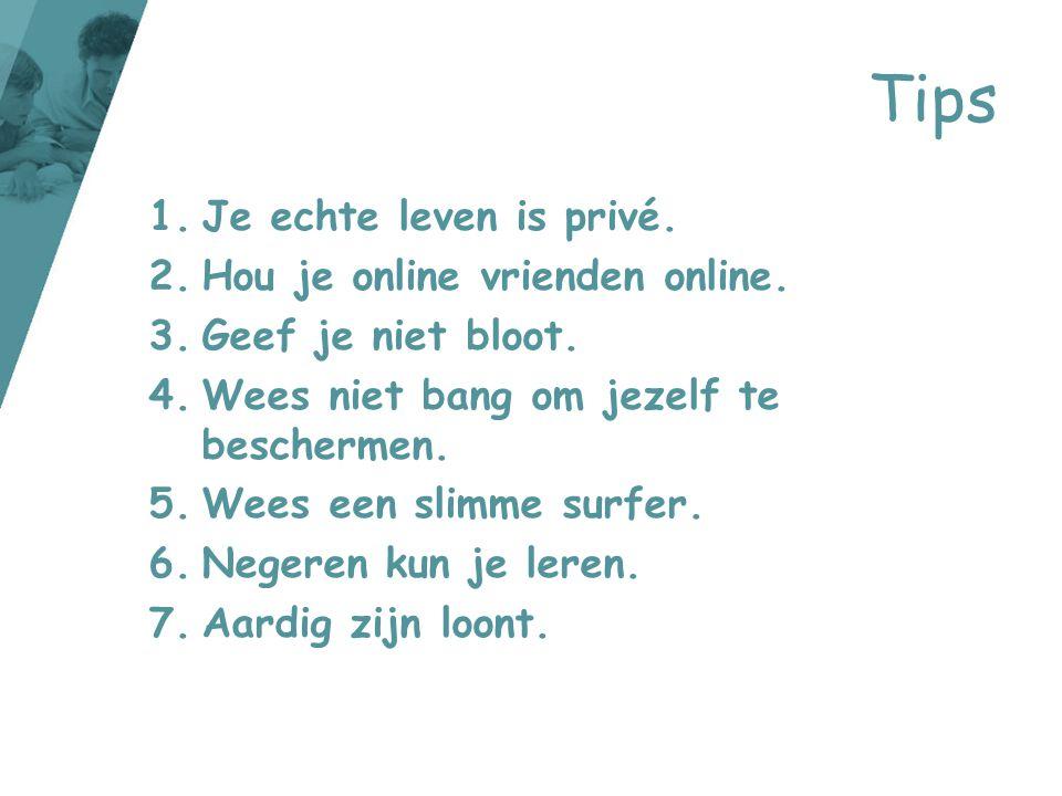 1.Je echte leven is privé. 2.Hou je online vrienden online. 3.Geef je niet bloot. 4.Wees niet bang om jezelf te beschermen. 5.Wees een slimme surfer.