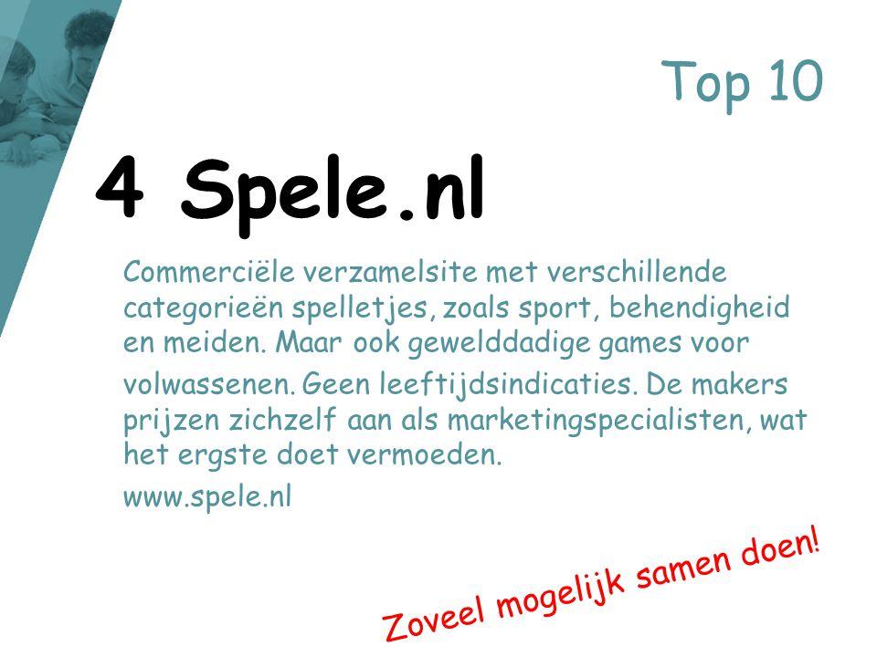 Top 10 Commerciële verzamelsite met verschillende categorieën spelletjes, zoals sport, behendigheid en meiden. Maar ook gewelddadige games voor volwas