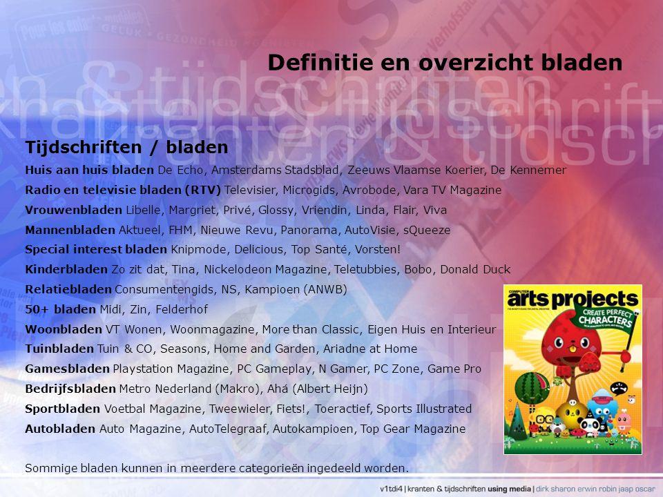 Definitie en overzicht bladen Tijdschriften / bladen Huis aan huis bladen De Echo, Amsterdams Stadsblad, Zeeuws Vlaamse Koerier, De Kennemer Radio en